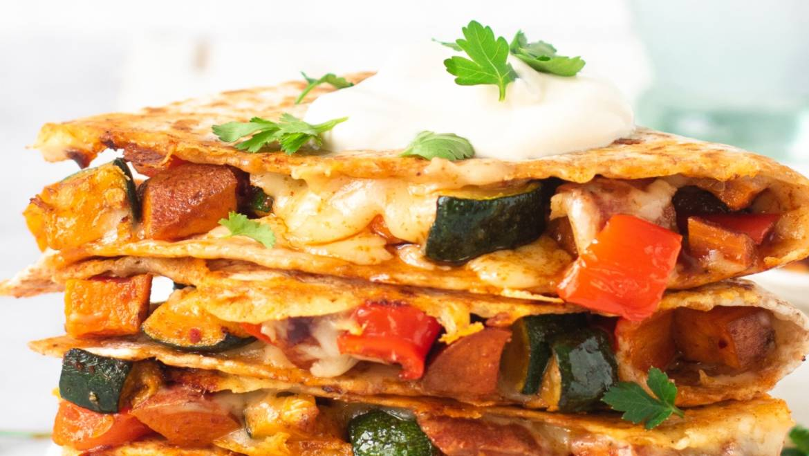 Cheesy Roast Veggie Quesadillas